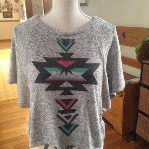 Forever 21 tribal print flowy short sleeve sweater